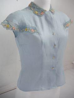 Pretty Pale Blue Cotton Blouse with Floral Lace Cape Sleeves Come Undone, Cut Shirts, Cotton Blouses, Vintage Tops, Floral Lace, Sleeve Styles, 1950s, Cape, Cotton Fabric