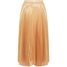 Nicole Miller Gold Metallic Pleated High-Waisted Silk-Blend Midi Skirt (175 CHF) ❤ liked on Polyvore featuring skirts, gold, pleated a line skirt, high waisted midi skirt, metallic skirt, a-line skirt and knee length pleated skirt