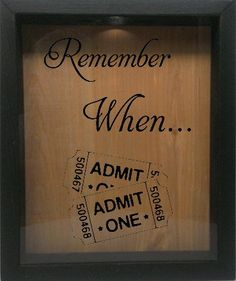 "Wooden Shadow Box Wine Cork/Bottle Cap Holder 9""x11"" - Remember When With Tickets (Ebony) Wicked Good Candle and Decor"