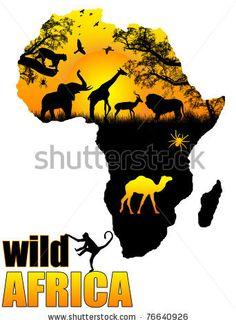stock vector : Wild Africa poster background, vector illustration