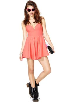 0cc8da495e5 Nasty Gal Sweetheart Skater Dress - Coral
