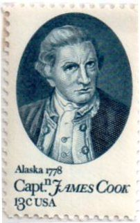 US postage stamp, 13 cents.  Captain James Cook, voyage to Alaska in 1778.  Issued 1978.  Scott catalog 1732.