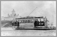 Sutro Railroad in 1897, passing Sutro Baths San Francisco. The first electric streetcar line, the San Francisco & San Mateo Railway established in 1891, ran all the way to the Holy Cross Cemetery in Colma; another branch went to Golden Gate Park. Just five years later, in 1896, people could visit the Cliff House and Sutro Baths via the Sutro Railroad, founded by then Mayor Adolph Sutro. All you needed was a transfer from the Sutter Street Railroad's cable car line.