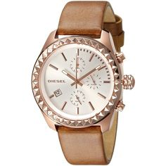 Diesel Kray Kray Series Analog Display Quartz Brown Watch (755 RON) ❤ liked on Polyvore featuring jewelry and watches