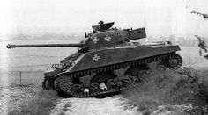 German Captured M4 Firefly - Germany never thought twice about utilising enemy weaponry; from 1940 to 45. The Sherman Firefly was a better tank than the standard Sherman due to it's 17 pounder main gun.