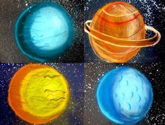 Grade Chalk Planets - Teach Junkie - Teach shading techniques with a planets space art project. Here is a chalk art project for fifth grade that focuses on the basics of art like shading a sphere. Students pick a planet to illustrate and use chalk to c Classroom Art Projects, School Art Projects, Art Classroom, Name Art Projects, Space Projects, Ideas Collage, Solar System Art, Third Grade Art, Fifth Grade