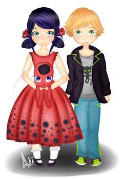 Marinette and Adrien like kids