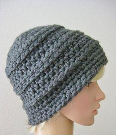 Crochet Gray Beanie Hat-Crochet Hat-Gray by RoseJasmine on Etsy