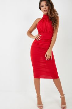 Stretch mid weight fabric Racer front high neck Concealed back zip fastening Ruched detail Midi length Polyester, Elastane Handwash Model wears a size 8 and her height is Ruched Dress, Bodycon Dress, Red High, Fabric, Model, How To Wear, Collection, Hot, Dresses