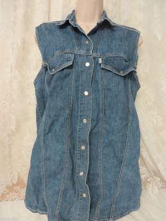 LEVI'S DENIM Shirt WOMENS Small BLUE Label Sleeveless Western Cowgirl EUC #LEVIS #WesternDENIM #Casual