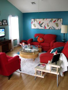 Living Room Ideas In Red red and turquoise living room | home design ideas