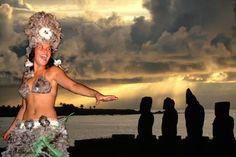 Rapa Nui Dancer and Sunset, Easter Island