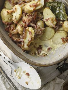 Jersey Royal and bacon gratin: This recipe for Jersey Royal and bacon gratin is a really versatile recipe. You can eat this as a main course, or use it as a side dish to feed a crowd