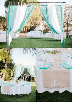 teal wedding ideas REVERSE IT HAVE BROWN CRAFT PAPER ON TABLES WITH CRAB & TURQUOISE, CREAM , OR GRAY WITH BURLAP RUNNERS WITH NAUTICL RING NAPKIN RING HOLDERS AND SISAL TIES