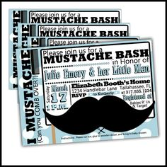 Little Man Baby Shower Invitations  Mustache baby by LullabyLoo, $18.00