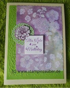 Mothersday Card   Muttertagskarte mit Aquarellhintergrund Handmade by Silvi Unabh. Stampin' Up! Demonstratorin aus Jena Thüringen www.stampinzauber.de