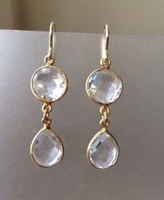 Clear Quartz in gold Double Stuff earring by 310jewelry on Etsy