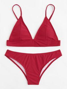 Adjustable Straps Bikini Set -SheIn(Sheinside)