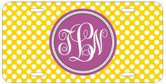 Personalized Monogrammed Polka Dots Purple Yellow License Plate Custom Car L072