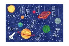 Giclee Print: Space and Planets by Elizabeth Caldwell : Art Wall Kids, Art For Kids, Planet Project, Planet Painting, Nasa Solar System, Kids Poster, Space Crafts, Wall Art Pictures, Giclee Print