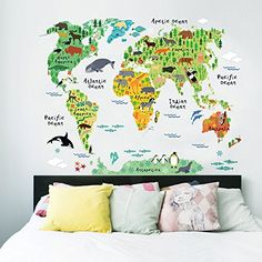 EMIRACLEZE Christmas Gift Holiday Shopping Christmas New Design Animals' World Colorful Map Removable Mural Wall Stickers Wall Decal for Kids Living Room Home Wall Decor EmiracleZe http://www.amazon.com/dp/B0180QKBNQ/ref=cm_sw_r_pi_dp_agzLwb148N2JV
