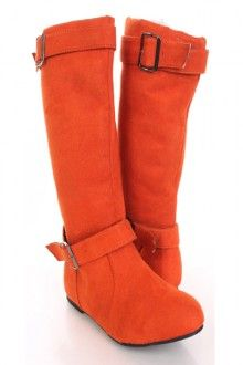 Orange Faux Suede Buckle Straps Stylish Flat Boots