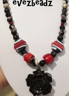 "20"" Red White Black Gemstone Lampwork Rose Pendant Necklace | evezbeadz - Jewelry on ArtFire #bmecountdown"