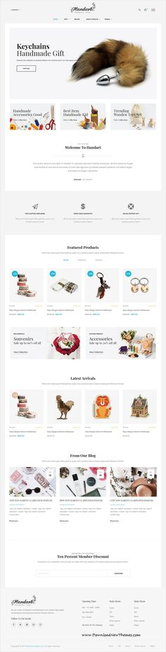 HandArt is clean and modern design 9in1 responsive #Shopify #template for Jewelry, #artwork and #handmade artists eCommerce #store website to live preview & download click on image or Visit