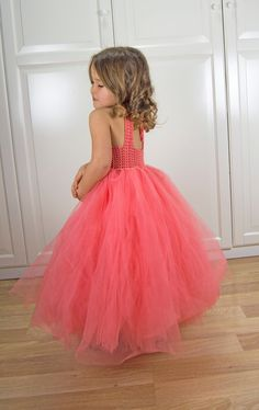 SALE. Ready to ship.  Size 3-4 years. Coral Ankle Length  Girl  Tutu Dress. Baby Flower Girl Tulle Dress with Lace Stretch Crochet Bodice