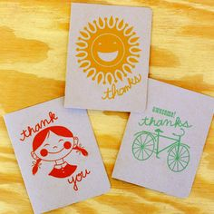 Summer Fun Thank You Cards 12 Pk / Rock Scissor Paper