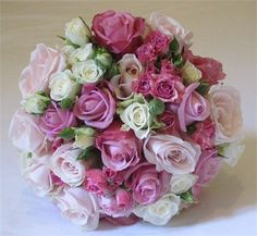 Hand tied bouquet of pink roses