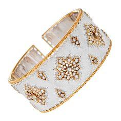 1stdibs | BUCCELLATI Diamond White Gold Yellow Gold Cuff Bracelet
