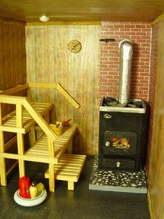 Sauna ♥ the idea that the bottom step can be a moveable bench Sauna Shower, Shower Tub, Hygge, Sauna Steam Room, Outdoor Sauna, Finnish Sauna, Relaxation Room, Home Board, Rocket Stoves