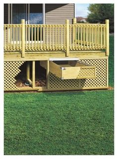 Excellent idea to make the underneath of a deck more useful with accessible storage: