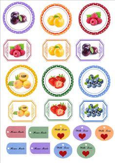 labels etichette per confetture Honey Packaging, Fruit Packaging, Canning Jar Labels, Pantry Labels, Gift Labels, Food Labels, Jam Label, Dessert In A Jar, Circle Labels