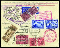 GERMANY, 1930 (May 18-Jun 6), South America Flight, cover from Berlin franked with 2M (Scott's C38) plus another copy cancelled on board (22.5) to Brazil, with appropriate franking cancelled at Recife (22.5) to USA, with SFR1.30 Zeppelin (Scott's C15) added at Lakehurst (June 2), Fine and rare three country combination franking, with appropriate transit and arrival postmarks, rare. Est. 2,500 - 3,000 CHF. Sieger No. 57.R. Est. 2,500 - 3,500 CHF
