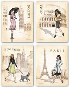 "Amazon.com: Fashion capitals bedroom theme? Paris, London, Roma and New York Set by Andrea Laliberte 11""x14"" Art Print Poster: Home & Kitchen"