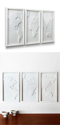 With the map in a different color though. Display your love for travel and culture with this three-panel relief-molded world map. Done in a classic white, it will be a wonderful focal point for your living room or bedroom. My New Room, My Room, Wall Decor, Room Decor, Home Design, Design Art, Home Improvement, Sweet Home, Crafty