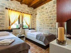Rethymno villa rental - Twin bedroom located on the first floor! Private Pool, Thalia, Swimming Pools, Twin, Villa, Flooring, Bedroom, Furniture, Home Decor