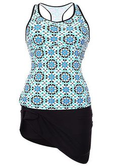 Round Neck Printed Racerback Top and Black Pantskirt on sale only US$36.66 now, buy cheap Round Neck Printed Racerback Top and Black Pantskirt at liligal.com
