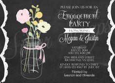 Chalkboard Vintage Mason Jar with Flowers - Custom Rehearsal Dinner, Bridal, Baby Shower, Engagement Party, Luncheon Invitation - 5 Designs