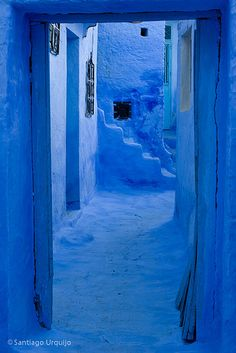 Blue alley in Chefchaouen, Morocco