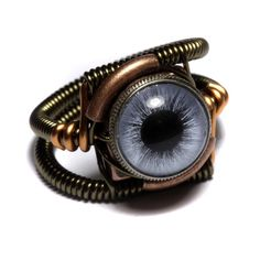 Steampunk Jewelry - RING - BLUE taxidermy glass eye - I wonder if they have one half blue/half brown?