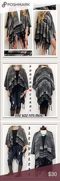 """Showstopping Tribal Fringe Wrap Scarf Poncho Cape Every stylish woman needs a go-to sweater to wrap up in & stay cozy warm this season!  How I love this sleeveless poncho Cardi cape/wrap in a gorgeous triba print in shades of gray, black & Ivory.  Nice quality sweater material 60% cotton 40% acrylic with tassel trim. One size fits most XS to 3X  Measurements laying flat: Width 44"""" Length 27"""" Tassels add 6"""" Jackets & Coats"""