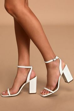 The Lulus Larsaa White Snake-Embossed Ankle Strap High Heel Sandals will be there every step of the way! Cute heels with an adjustable strap and block heel. White Block Heels, White High Heels, Ankle Strap High Heels, Lace Up Heels, White Heals, White Strappy Heels, White Dress Shoes, Strap Heels, Graduation Shoes