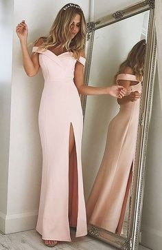 pink split side prom dresses. women's prom dresses, off the shoulder prom gowns, dresses for owmen