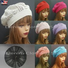 f6b7e981b74dee Women Winter Spring Summer Baggy Crochet Knit Slouchy Beanie Beret Cap Ski  Hat Beret, Skiing