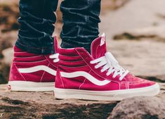 Vans Reissue - Tibetan Red/Marshmallow (by. – Vans Reissue - Tibetan Red/Marshmallow (by supremelotus) Vans Sk8 Hi Outfit, Vans Outfit Men, Mens Vans Shoes, Vans Men, Skate Shoes, Vans Sneakers, Vans Boots, Sneakers Workout, Sneakers Fashion