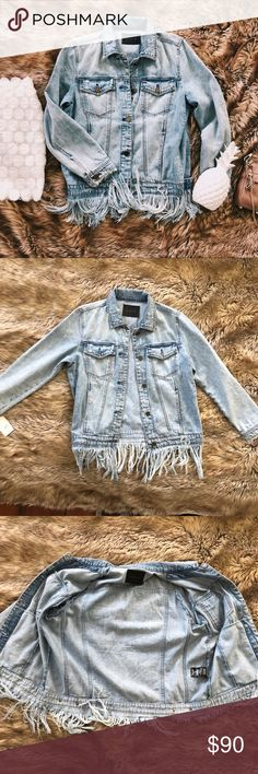 Blank NYC whiplash oversized denim fringe jacket Blank NYC whiplash oversized denim fringe jean jacket. Purchased from Nordstrom with the tag still attached. Brand new never worn. Super soft 100% cotton. A classic denim jacket with threadbare distressing and shredded fringe along the hem. Front button closure. Collar. Long sleeves with single button cuffs. Front vertical pockets and chest button flap pockets. Approximate measurements are shown. The skirt is available in a separate listing…