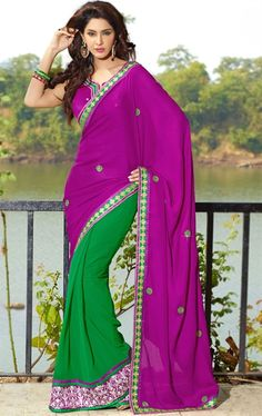 Picture of Fancy Pink and Green Indian Sarees Online